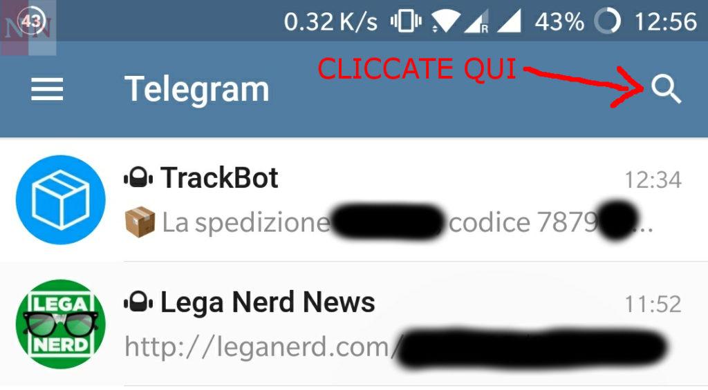 Ricerca Telegram bot in app 1